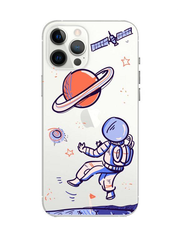 mock u iphone 12 pro przezrocyste z nadrukiem kosmonauta1
