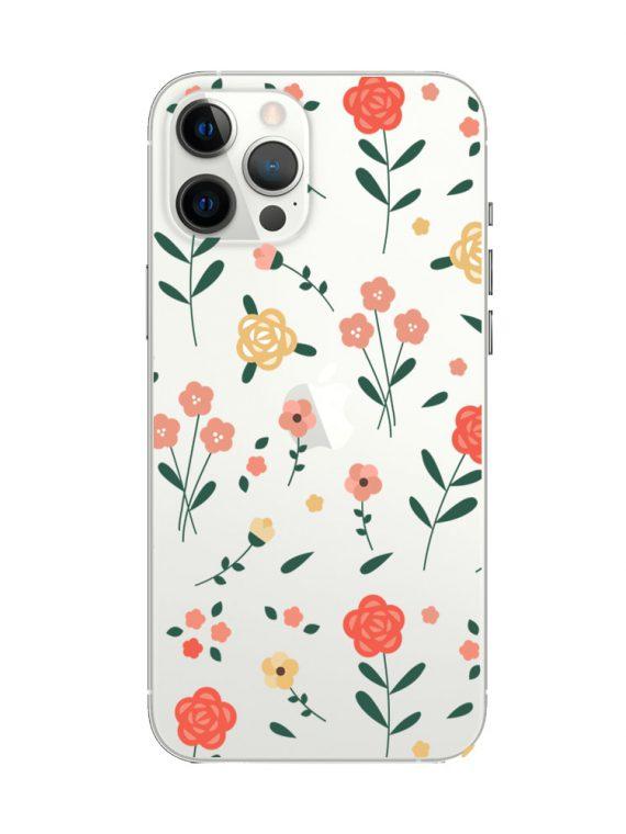 mock u iphone 12 pro przezrocyste z nadrukiem kwiatki1