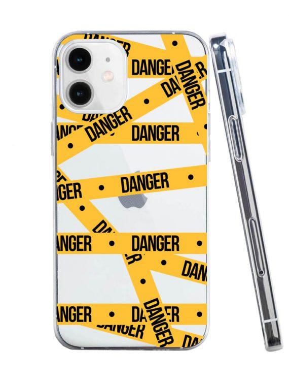 mock u iphone 12 przezrocyste z nadrukiem danger1