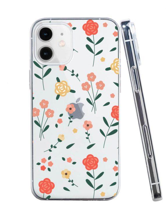 mock u iphone 12 przezrocyste z nadrukiem kwiatki1