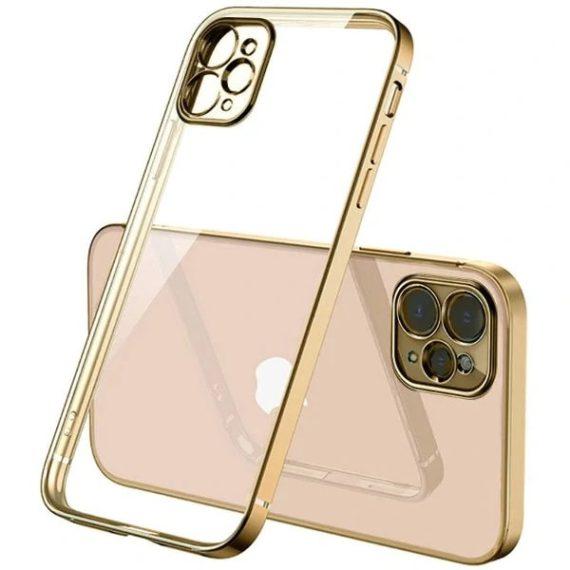 Etui do iPhone 12 Pro przeźroczyste ze złotą ramką premium gold crown osłona aparatu
