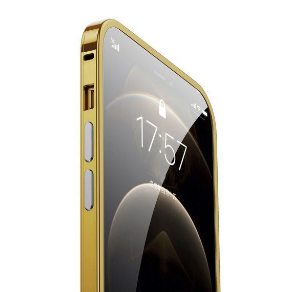 etui do iphone 12 pro ochrona aparatu ze złotą ramką