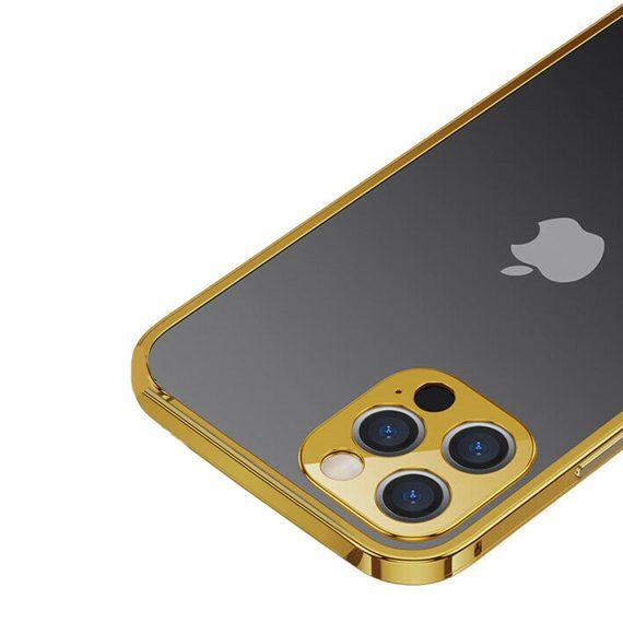 etui do iphone 12 pro ochrona aparatu ze złotą ramką 2