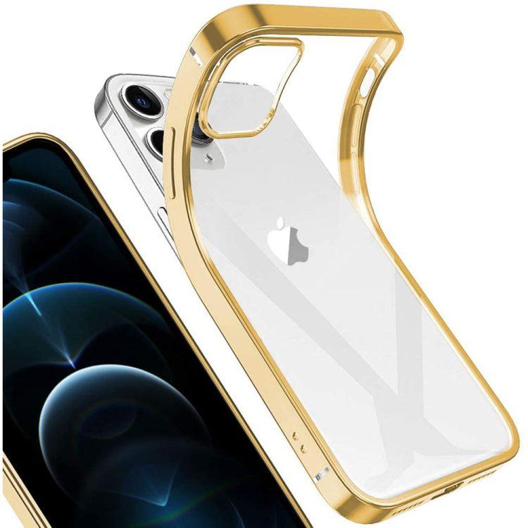 case iphone 12 pro max ze złotą ramką 1