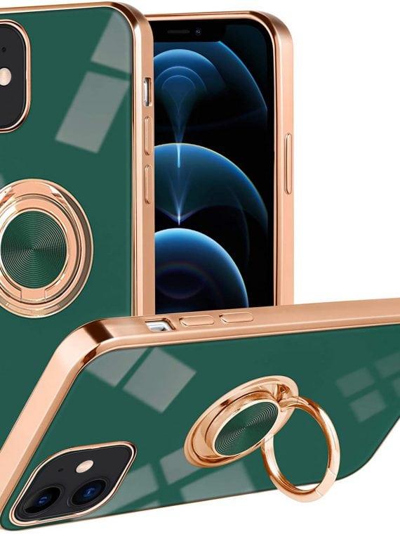 etui iphone 12 zielone luksusowe z uchwytem do trzymania