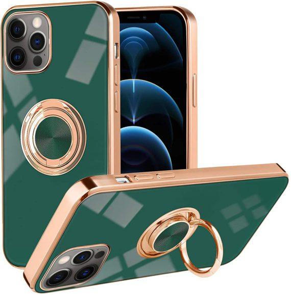 Etui do iPhone 12 Pro eleganckie z uchwytem i złotymi zdobieniami, zielone