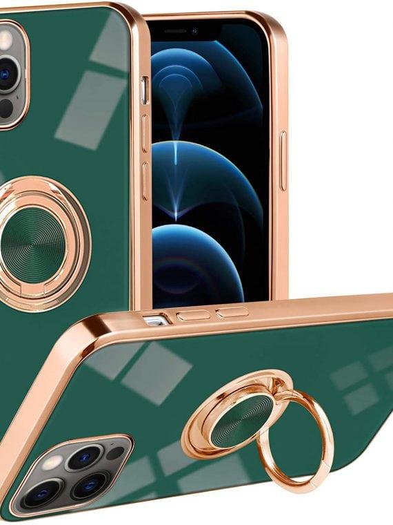 etui iphone 12 pro zielone luksusowe z uchwytem do trzymania
