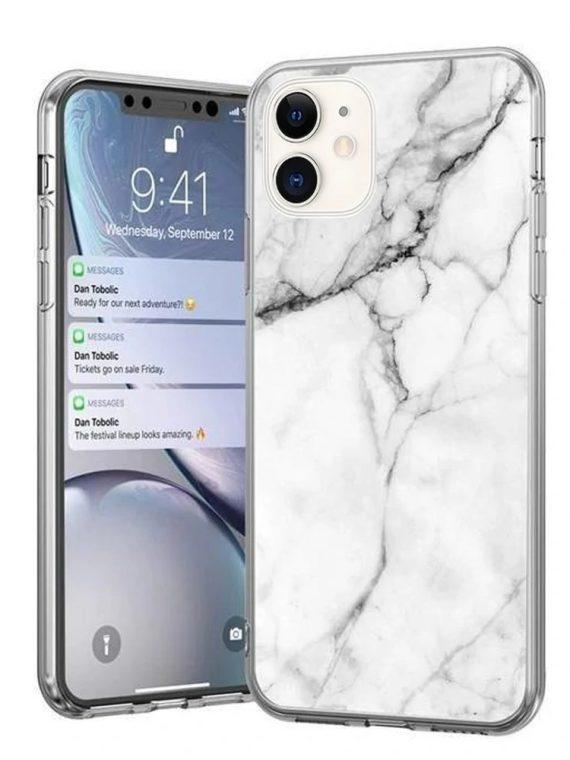 iphone 11 marble bialy z czarnymi liniami