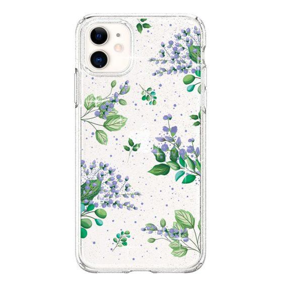 Etui do iPhone 11 błyszczący brokat Crystal Quartz lilowe kwiaty