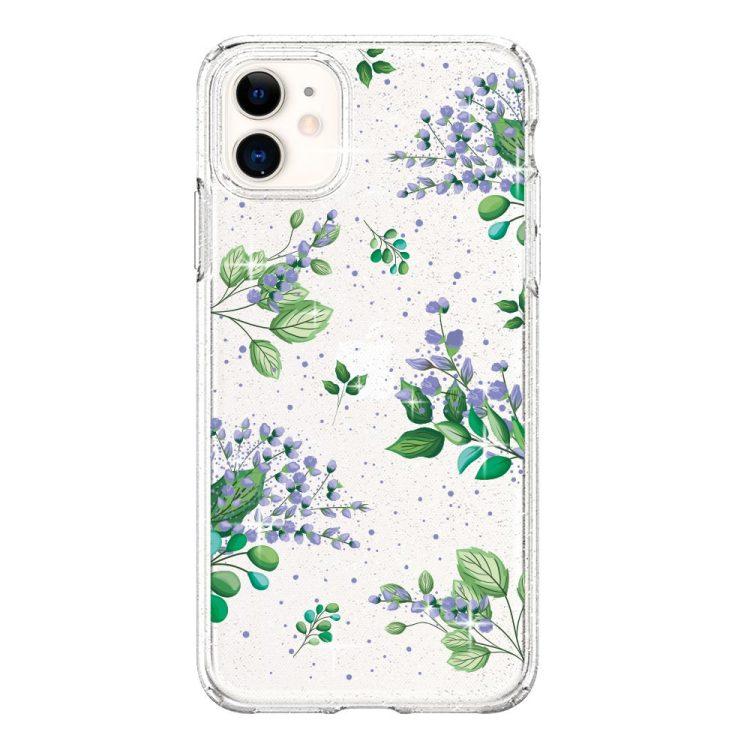 iphone 11 przezrocyste glitter lilowe kwiaty 1