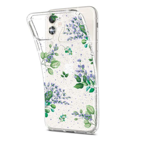 iphone 11 przezrocyste glitter lilowe kwiaty 2