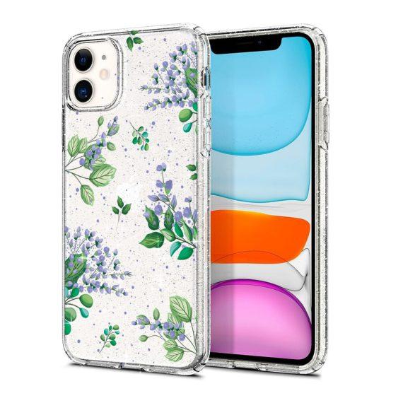 iphone 11 przezrocyste glitter lilowe kwiaty 3