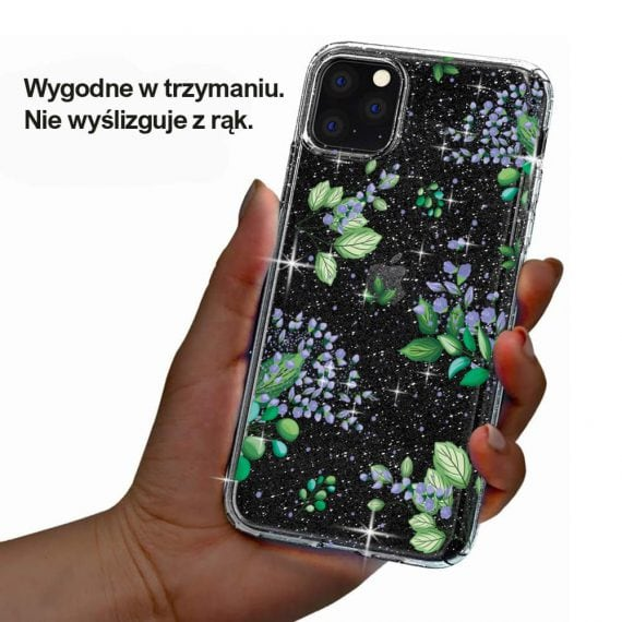 iphone 11 przezrocyste glitter lilowe kwiaty 4