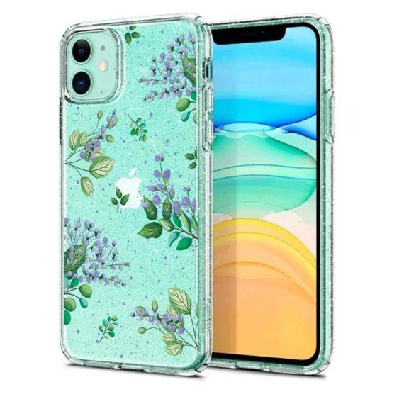 iphone 11 przezrocyste glitter lilowe kwiaty 6
