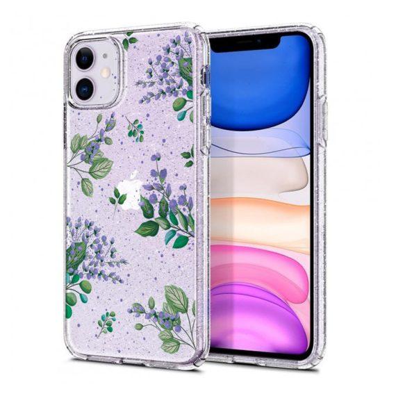 iphone 11 przezrocyste glitter lilowe kwiaty 8