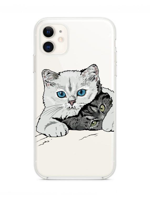 mock u iphone 11 przezroczyste z nadrukiem koty1