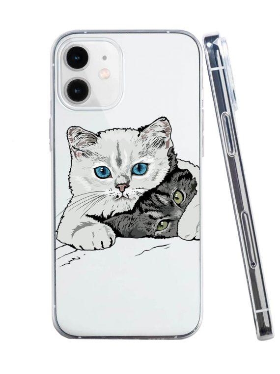 mock u iphone 12 przezrocyste z nadrukiem koty1