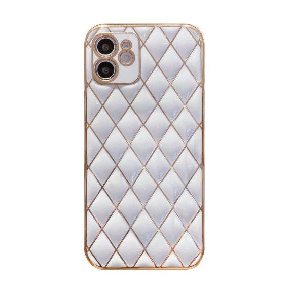 Etui do iPhone 11 białe alabastrowe ze złotym poszyciem w diamenty