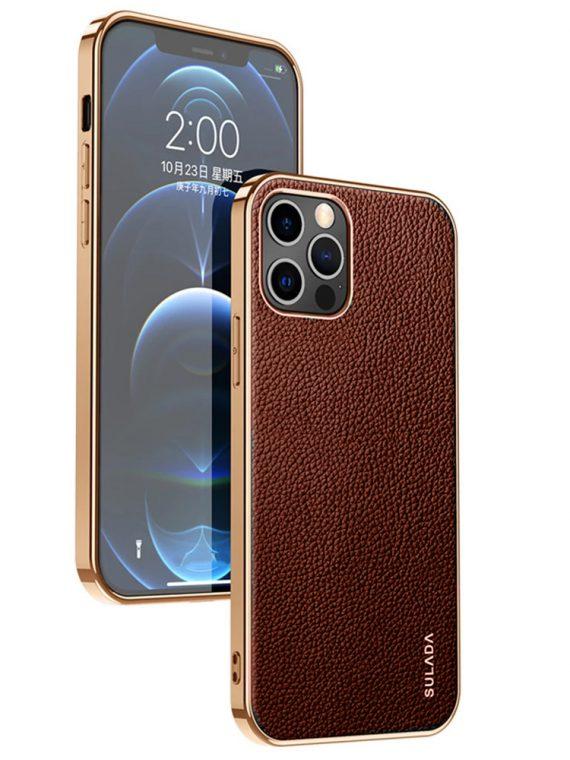 etui iphone 12 pro max sulada original szkórzane brązowe 8