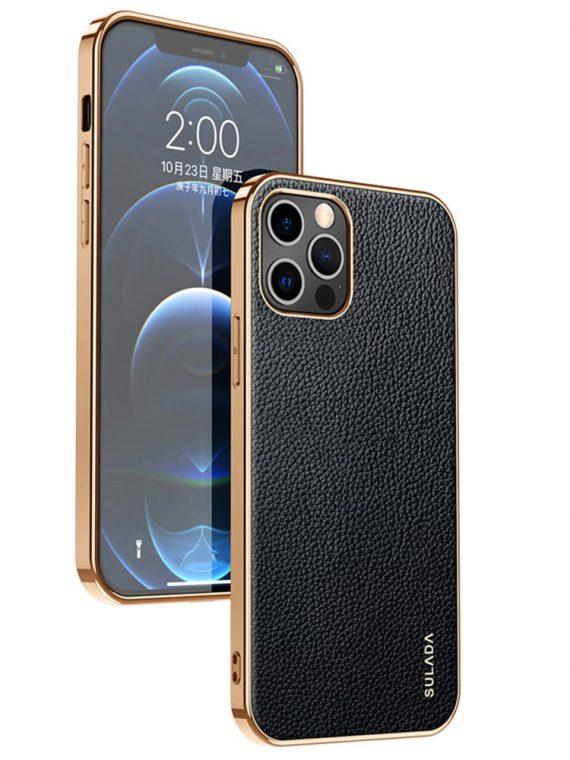 etui iphone 12 pro max sulada original szkórzane czarne 1