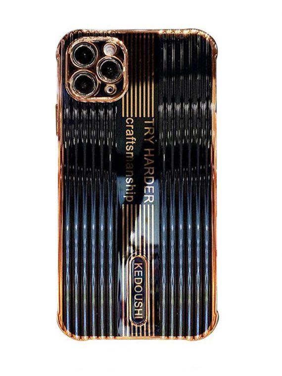 etui iphone 12pro 12 promax kedoushi czarne ze złotem i napisami