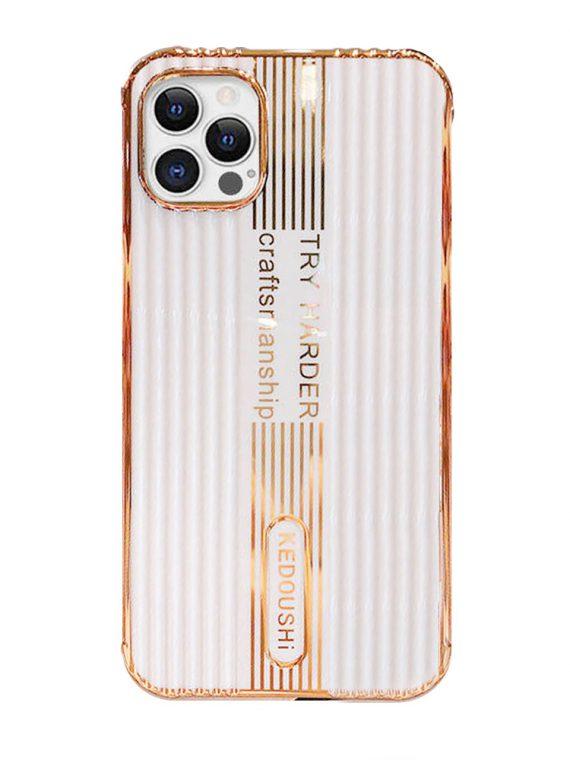 etui iphone 12 pro kedoushi białe ze złotem i napisami