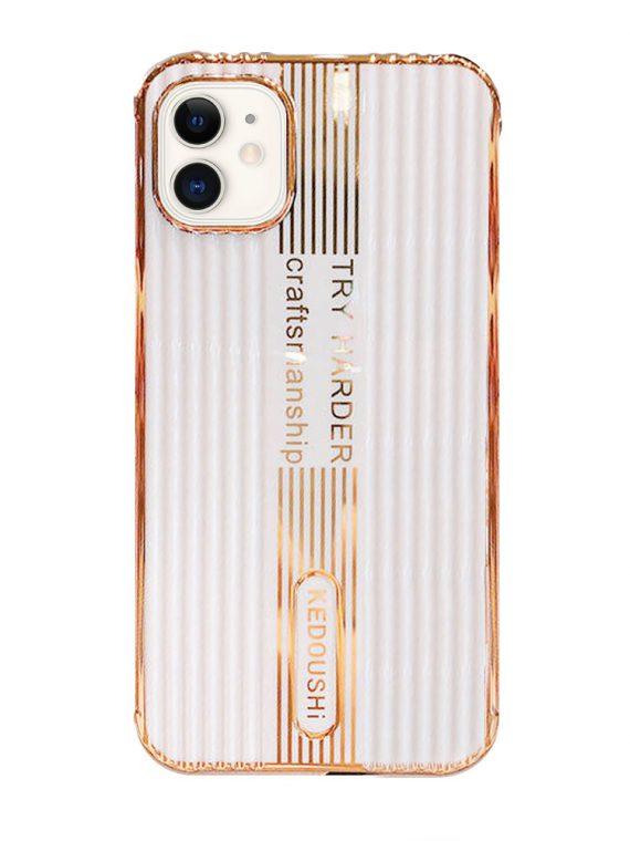 etui iphone 12 kedoushi białe ze złotem i napisami